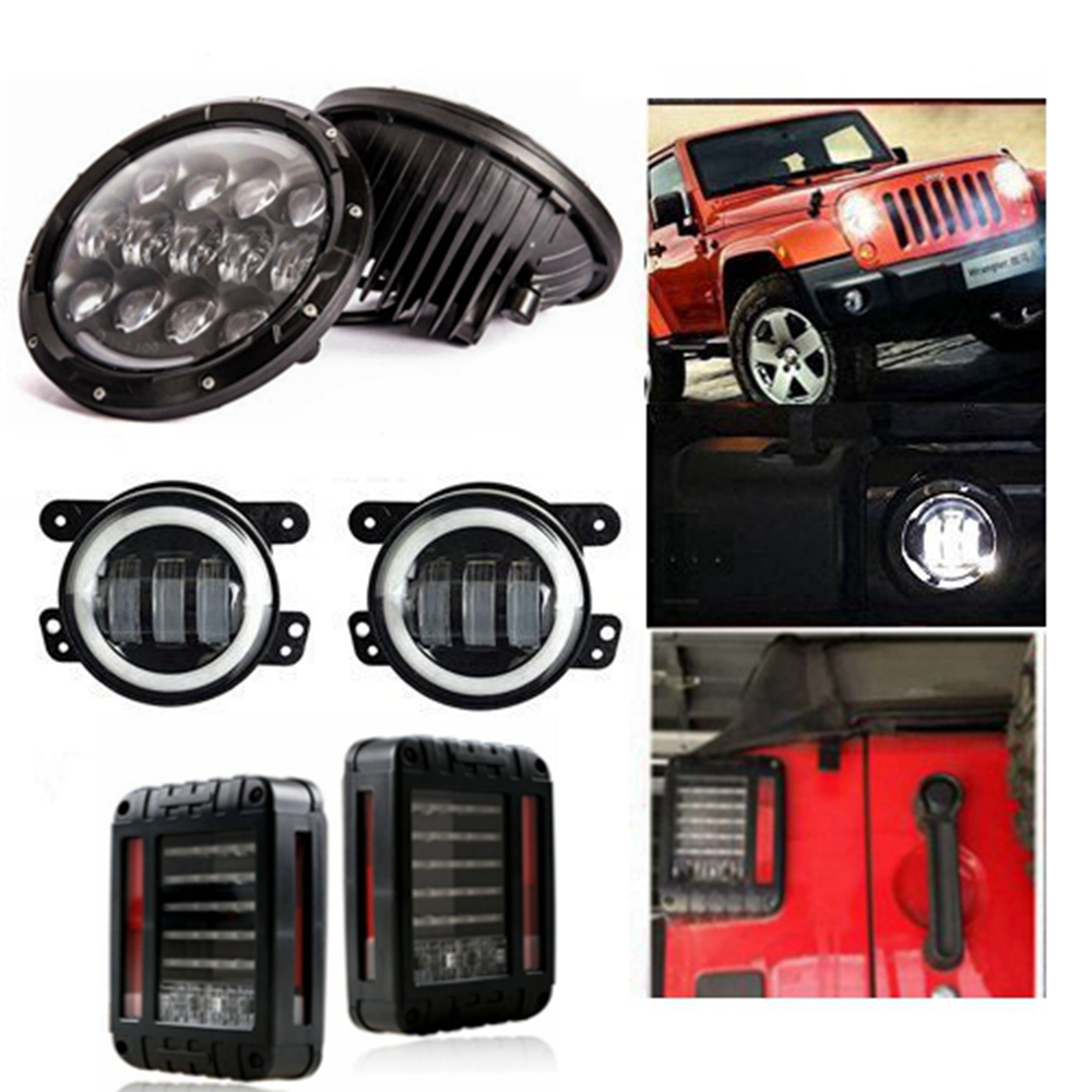 7 inch LED Headlights Daymaker 105w 4inch Led Fog Light White Halo DRL & Tail Brake Light Assembly for 07-17 Jeep Wrangler JK TJ hjyueng 45w for jeep wrangler 7inch led front headlights replacement with hi lo beam black 4inch fog lights lamp white halo