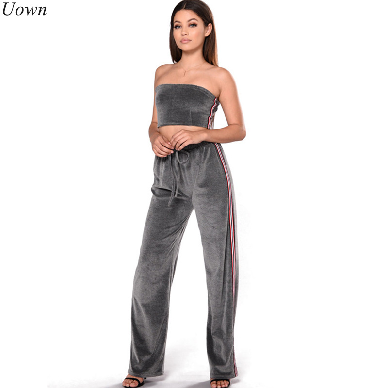 Uown Women Tracksuit Velvet Two Piece Sets Sexy Strapless Crop Top Long Wide Leg Pants Suits