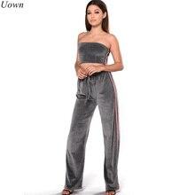 Uown Women Tracksuit Velvet Two Piece Sets Sexy Strapless Crop Top+Long Wide Leg Pants Suits Sportswear Sweatsuit Ensemble Femme