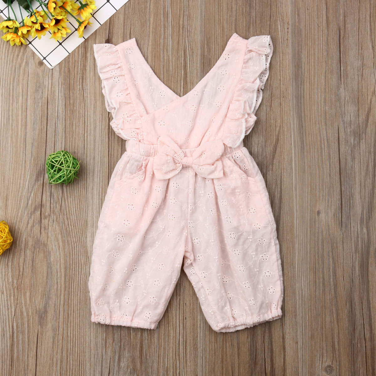 Emmababy Newborn Kids Baby Girl Clothes Fly Sleeve Solid Color Bowknot   Romper   Jumpsuit Outfit Sunsuit