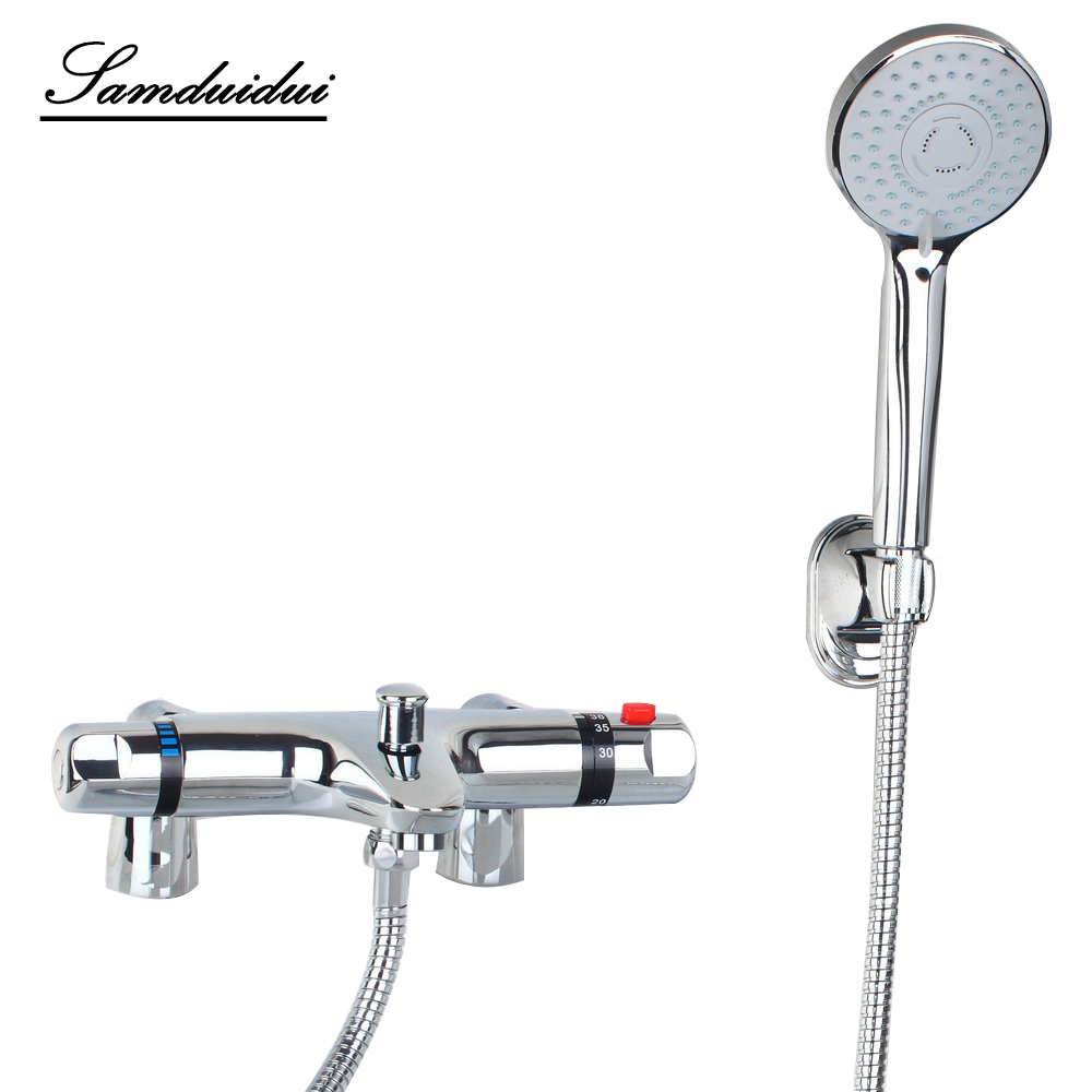 luxury Bathroom Contemporary Wall Mounted Thermostatic Faucets Polished Chrome Mixer Tap Shower Set Rain Bathtub Faucets Set traditional faucet chrome thermostatic bathroom faucets plastic handshower dual holes shower mixer tap