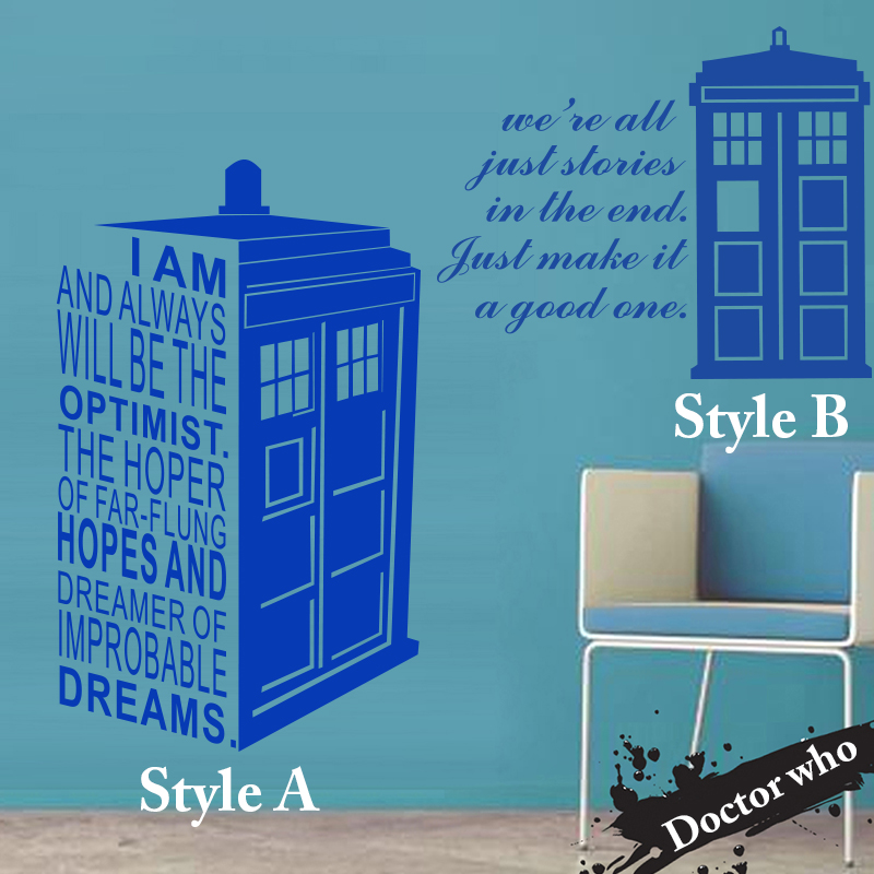 Art design home decoration Dr who billige vinyl populäre Doctor who wandaufkleber wohnkultur berühmte polizei box aufkleber