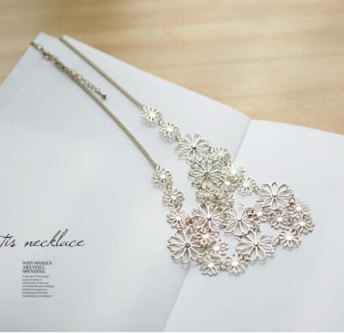 HOT SALE Women Fashion Chain Jewelry Flower Bib Choker Pendant Statement Necklace