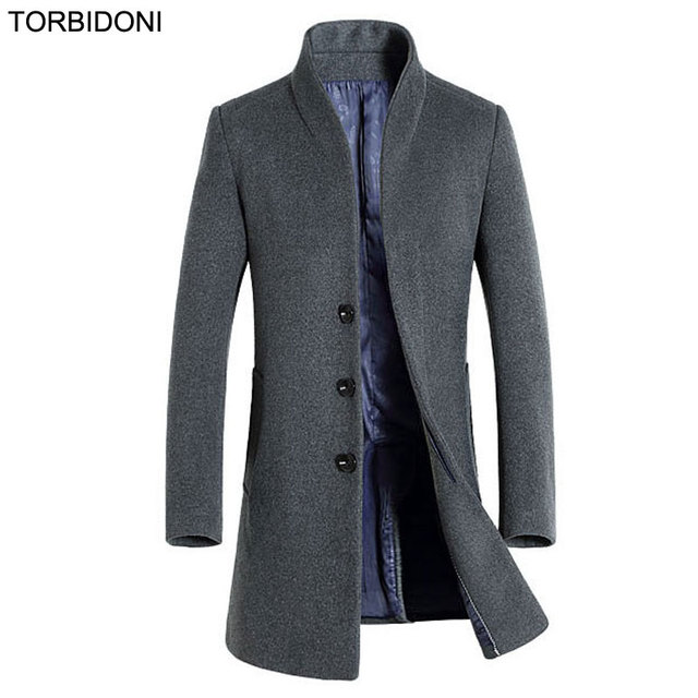 New Men Woolen Coats Middle Long Jackets Coats hight quality Autumn & Winter Brand Mens fashion Warm Wool Overcoat Stand Collar