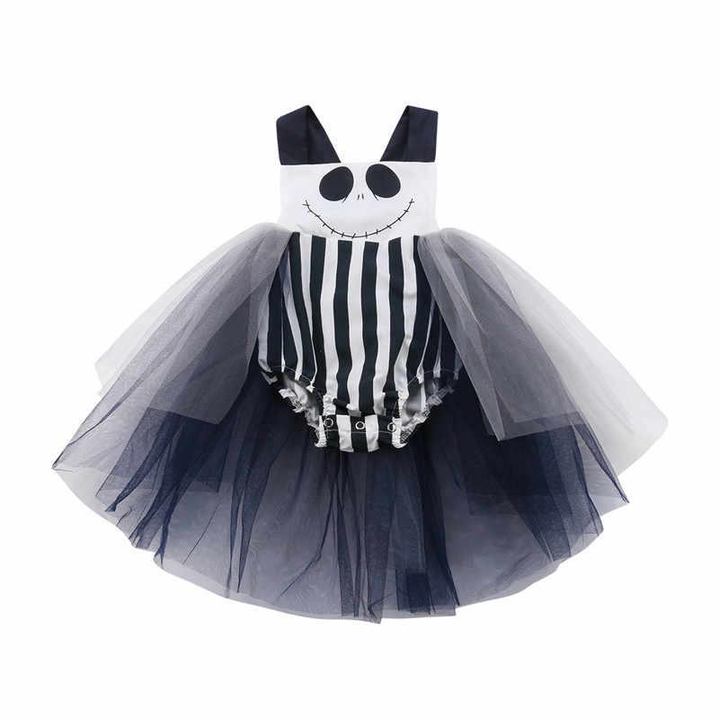 Cadılar bayramı Bebek Kız Dantel Tül Romper Elbise Sevimli Bebek Bebek Kız Şerit Gülen Yüz Baskı Romper Kolsuz Tulum Kıyafetler