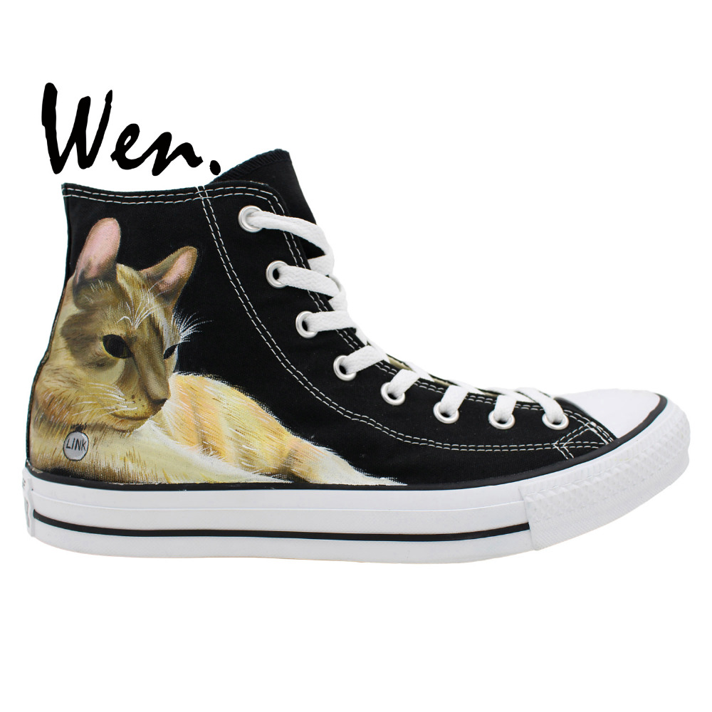 Wen Custom Original Hand Painted Athletic Shoes Design Pet Cat Lazy Lying Women Men's Sneakers High Top Black Canvas Shoes wen original hand painted canvas shoes space galaxy tardis doctor who man woman s high top canvas sneakers girls boys gifts