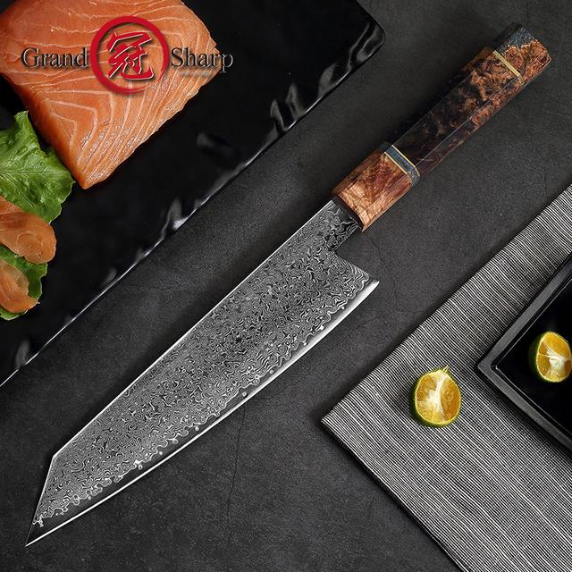 8.2 Inch Damascus Kitchen Knife Handmade Chef Knife VG10 Japanese Damascus Steel Kiritsuke Kitchen Knife Gift Box Grandsharp