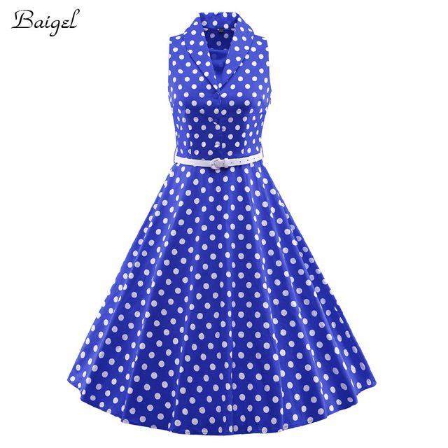 ea0737f2b38 Womens V-Neck Polka Dot Dress Summer Vintage 1940s 50s Audrey Hepburn Style  Rockabilly Swing Party Dresses Robe Sexy with Belt