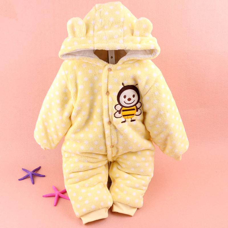 Newborn Baby Girls Rompers Winter Coral Fleece Kids Boy Clothing Set Cartoon Hooded Clothes Warm Down Snowsuit Infant Jumpsuits winter baby rompers organic cotton baby hooded snowsuit jumpsuit long sleeve thick warm baby girls boy romper newborn clothing