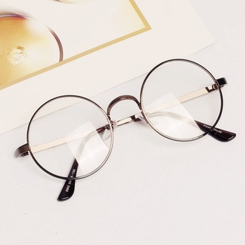 Women men retro round metal frame clear lens glasses nerd spectacles eyeglass.jpg 350x350