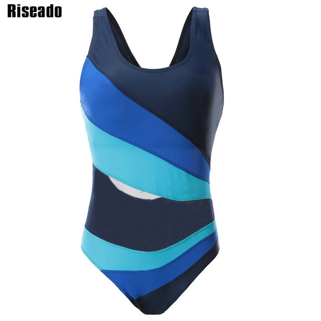 2feac6d705 Riseado New 2019 One Piece Swimsuits Sexy Mesh Swimwear Women Racer Back  Swimsuits Striped Patchwork Bathing Suits Beachwear