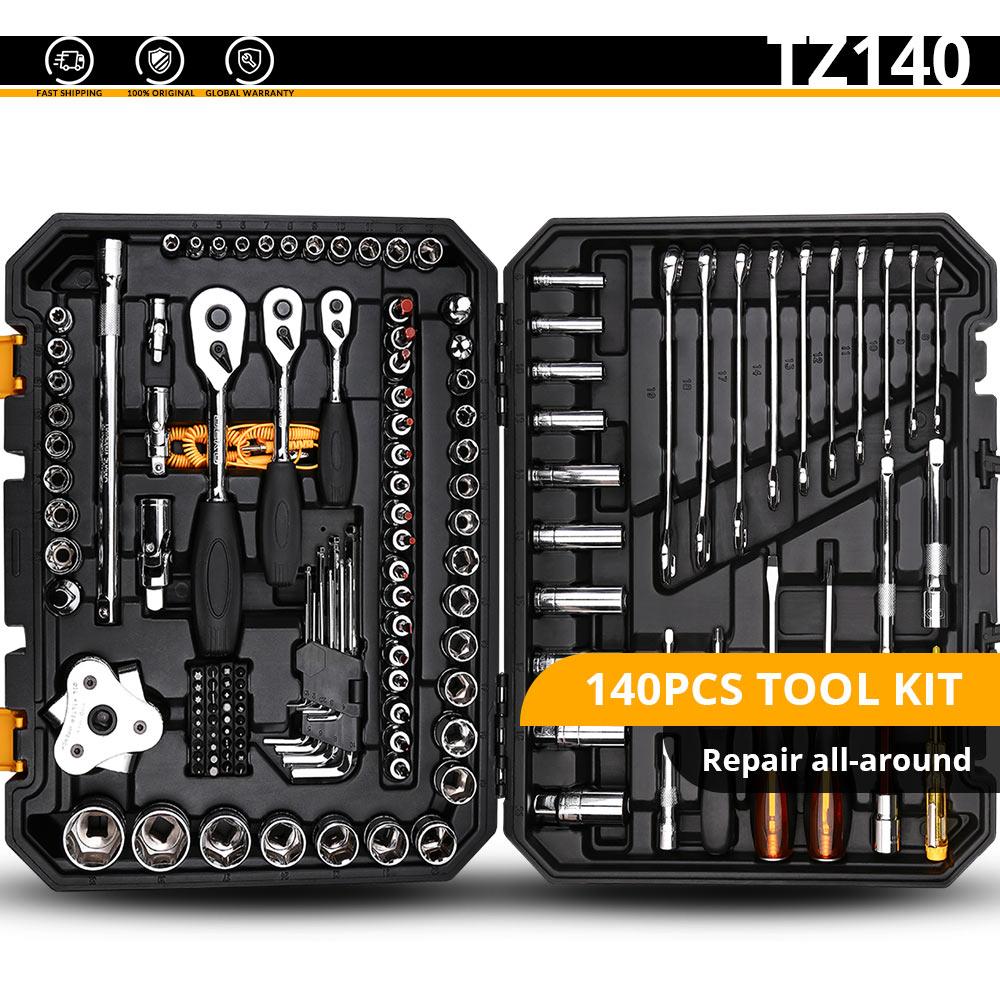 DEKO набор ручных инструментов для домашнего ремонта, набор ручных инструментов с пластиковым ящиком для инструментов, чехол для хранения плоскогубцев, торцевой ключ, пила, отвертка, нож - Цвет: TZ140