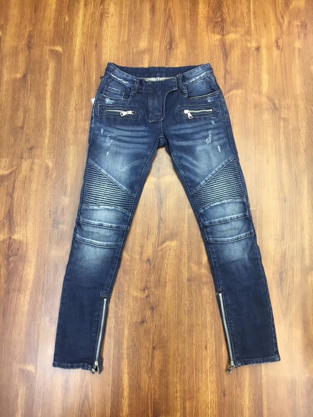 2019 New luxury CosMaMa Brand designer fashion zippers all denim skinny fit pleated biker jeans boyfriend for women blue