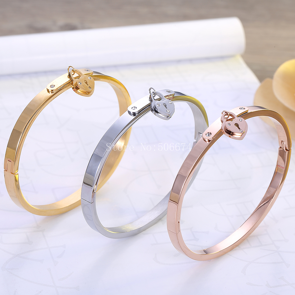 Top Quality Heart lock brand letter Fashion Jewelry Cuff Carter Bracelets Bangles 316L lover Stainless Steel Bracelets For Women