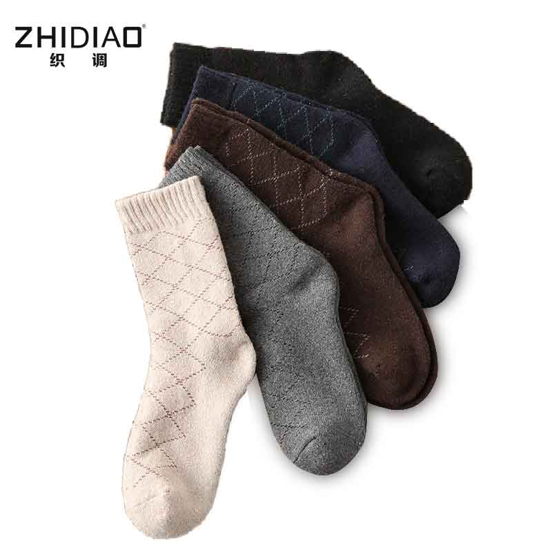 Winter rhombus thick plaid terry happy mens socks customize style cotton crew men socks colorful funny calcetines socks for men