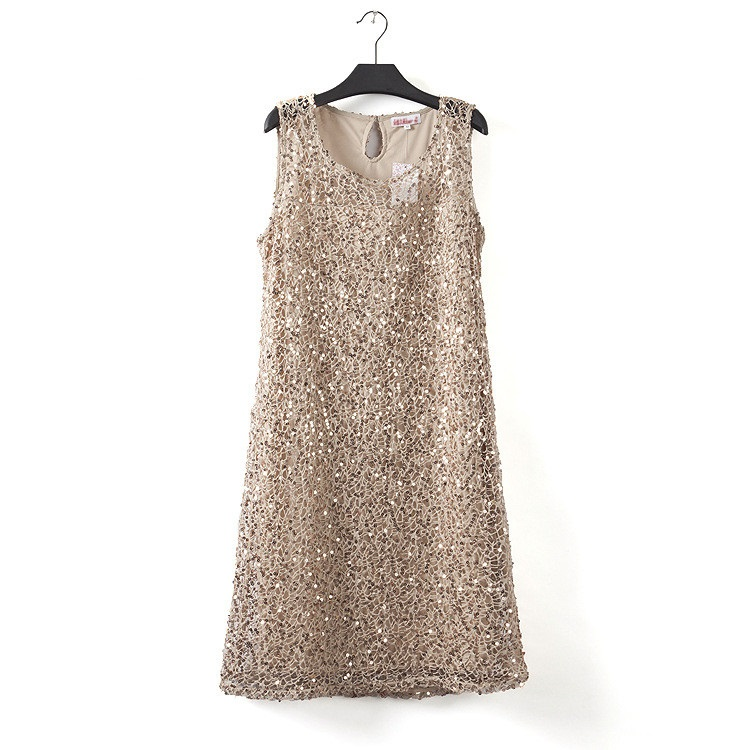 Плюс размер эластичный Женщины блесток платье без рукавов Повседневные платья вечерние элегантные вечерние свадебные платья ФЭСТ