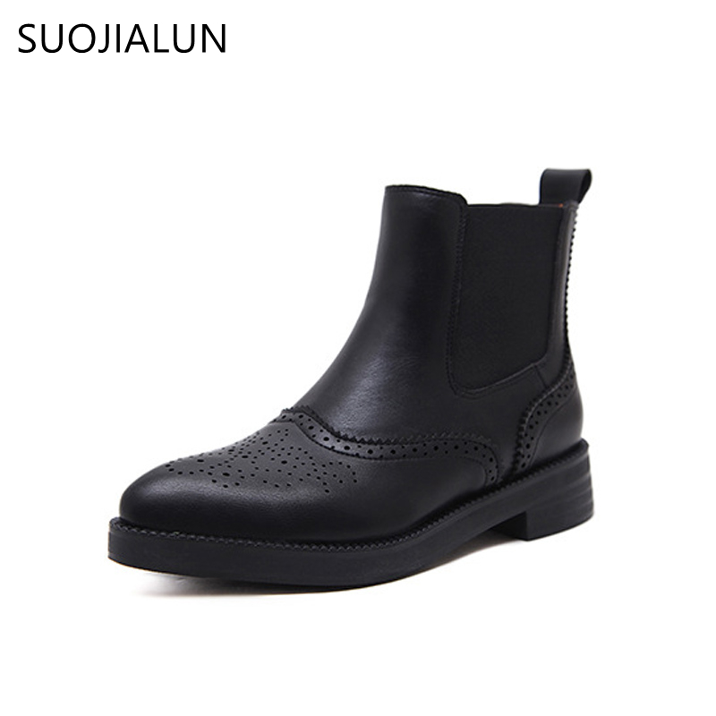 SUOJIALUN New Fashion Women Black Ankle Boots Flats European Style Pointed Toe Slip On Boots Microfiber Leather Woman Shoes pu pointed toe flats with eyelet strap