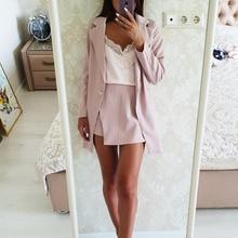 Женский офисный костюм, модный пиджак в полоску на одной пуговице и с разрезом и облегающая мини-юбка, комплект из двух предметов