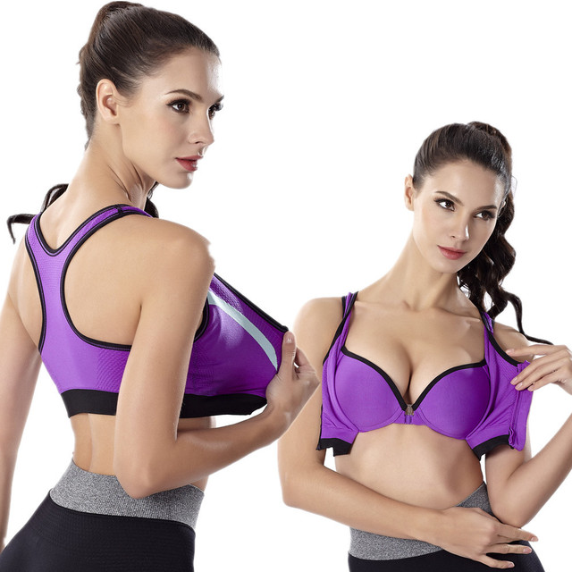 70f42682a7c9a Shockproof Padded Zipper Sport Bra Running Women Gym Fitness Yoga Bra Push  Up Quick Dry Breathable Girls Workout Sports Bra Top