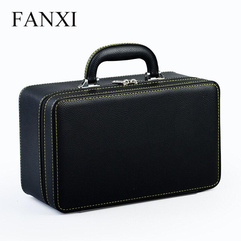 FANXI High Quality Black Leather Jewelry Case Packaging Box Handmade Travel Three Layers Jewelry Organizer Storage Case Holder стоимость