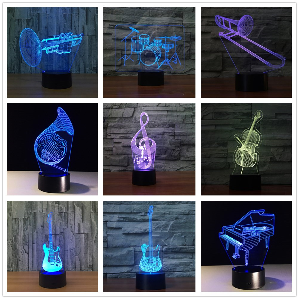 3D Music Musical Instruments 7 Color Led Night Lamps For Kids Touch Led Usb Table Lampara Lampe Baby Sleeping Nightlight