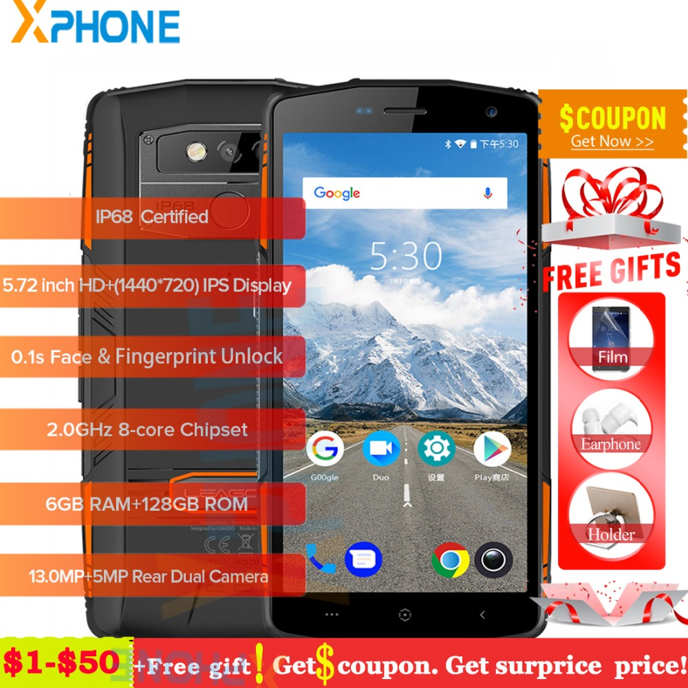 Leagoo XRover 6GB 128GB IP68 Waterproof Cell Phone Android 8 1 5 72 Octa Core OTG