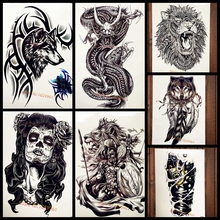 Black Brambles Wolf With Bracelet Temporary Tattoo Sticker For Men Body Art Arm Tattoo Sleeve Waterproof Fake Flash Tatoo Tribal