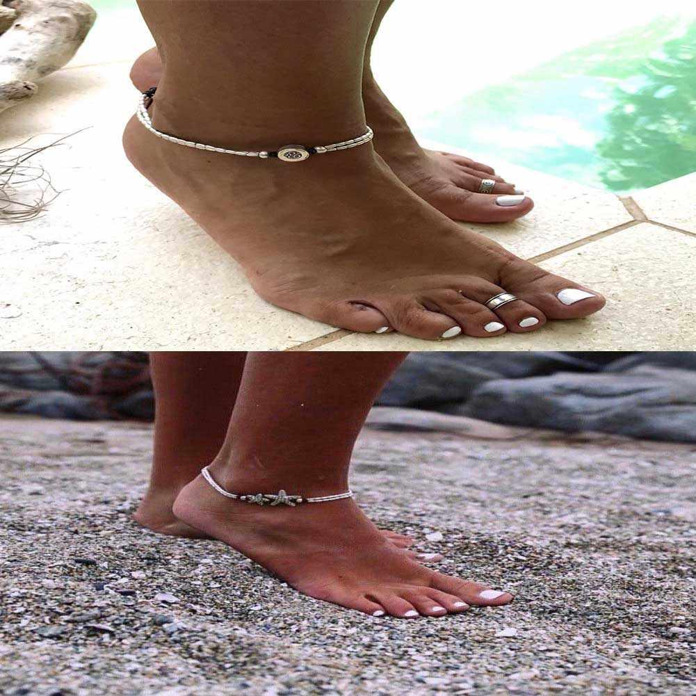 """Бохо ножной браслет """"Морская звезда"""" Винтаж лодыжки браслет для женщин Будда бижутерия для ног лето босиком пляж"""