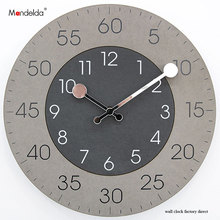 Double Arabic Numeral Dial Wooden Large Hanging Wall Quart Clock