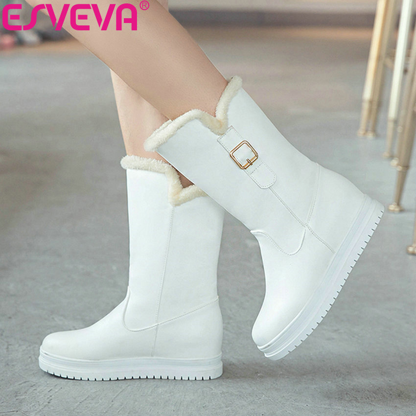 ESVEVA 2019 Women Shoes Mid-calf Boots Round Toe Med Heels Winter Boots Short Plush Slip on Height Increasing Snow Boots 34-43 esveva 2019 women shoes mid calf boots round toe med heels winter boots short plush slip on height increasing snow boots 34 43
