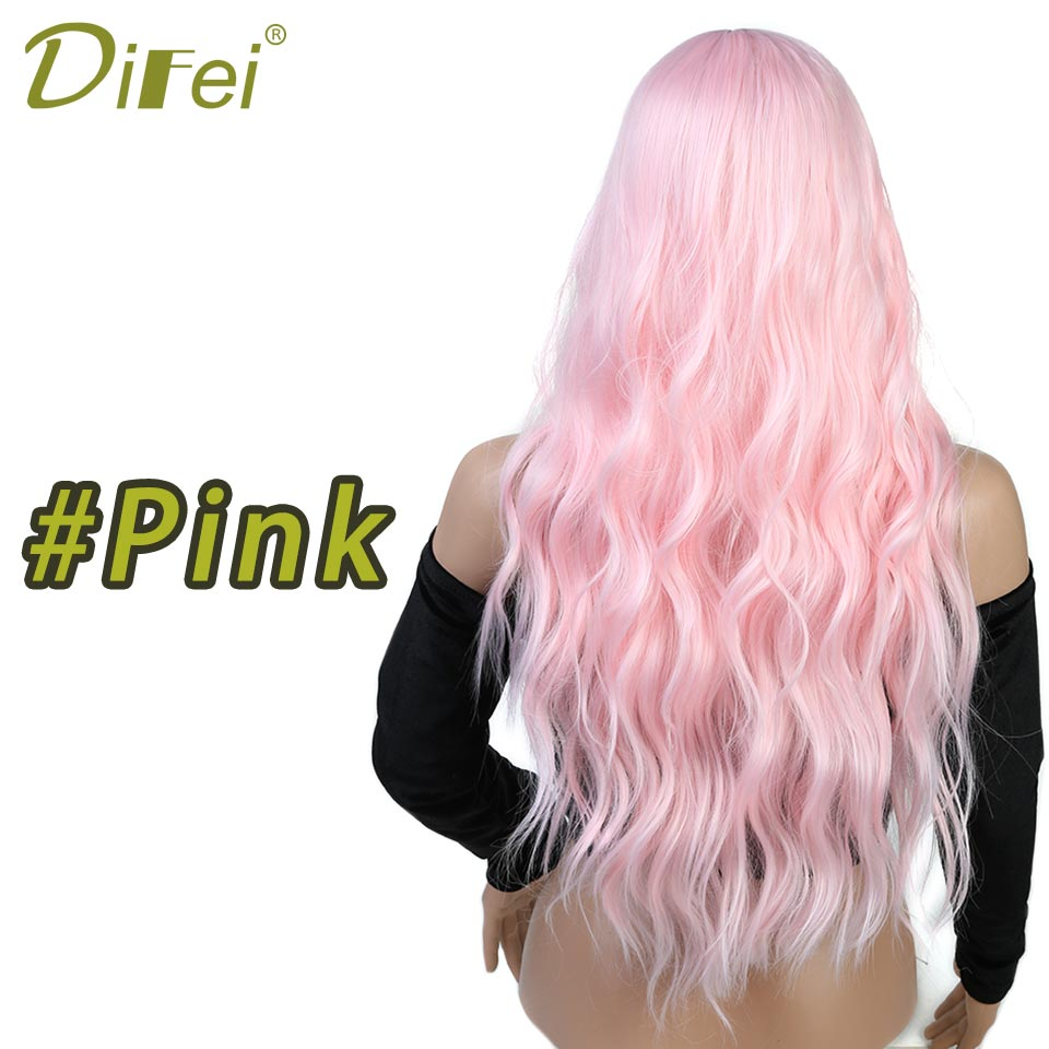 DIFEI Synthetic Blonde Wig for Black Women Long Wavy Blonde Hair Wigs ...