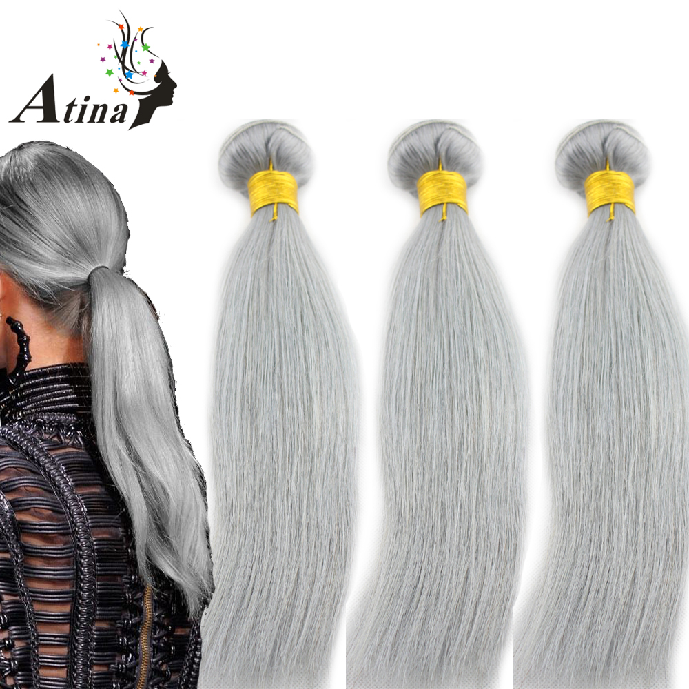 Brazilian Straight Human Hair Weave Pure Gray Color 3 Bundles Atina Silver Grey 100% Remy Human Hair Weaving Extensions