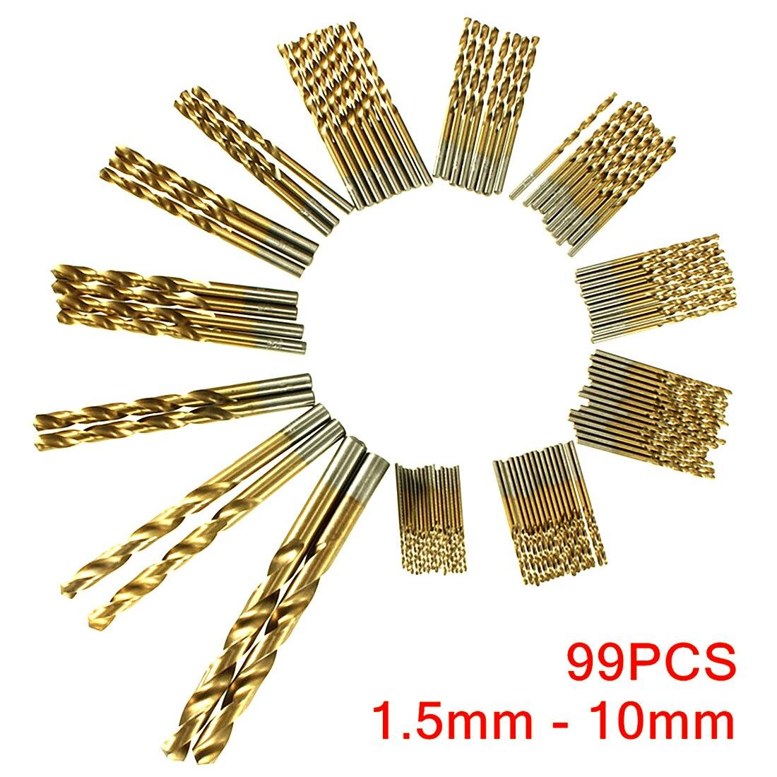 Mulitisize 99pcs Titanium Coated Drill Bit Set 1.5-10mm HSS Drill Bit Tool For Metal Wood Work 30dB For Metal Drills