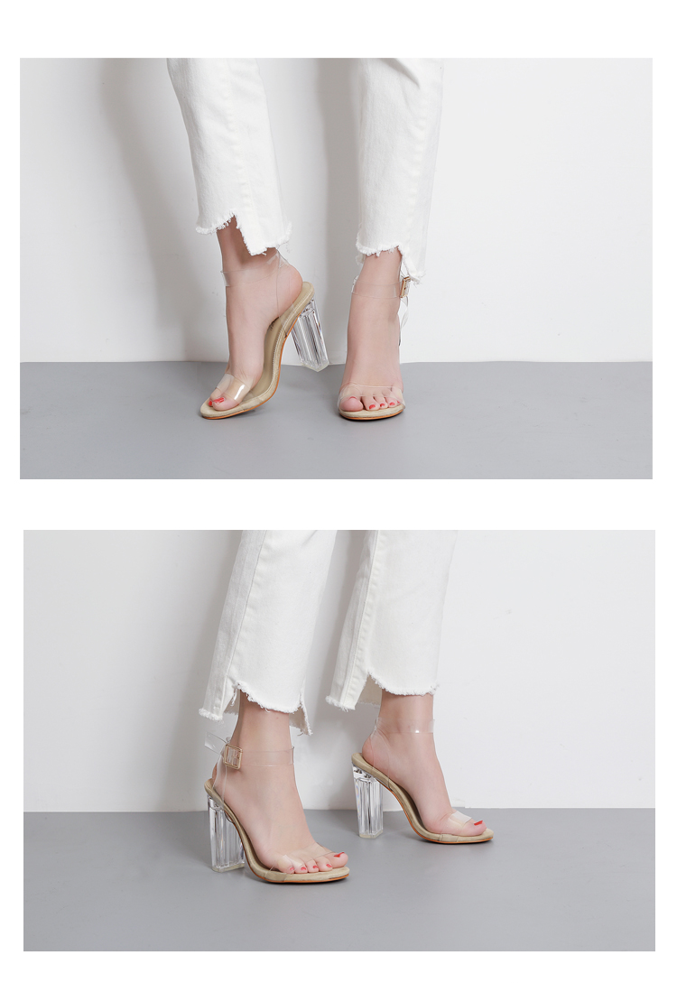HTB1XdpeXjnuK1RkSmFPq6AuzFXaM Eilyken Women Sandals Ankle Strap Perspex High Heels PVC Clear Crystal Concise Classic Buckle Strap High Quality Shoes size35-42