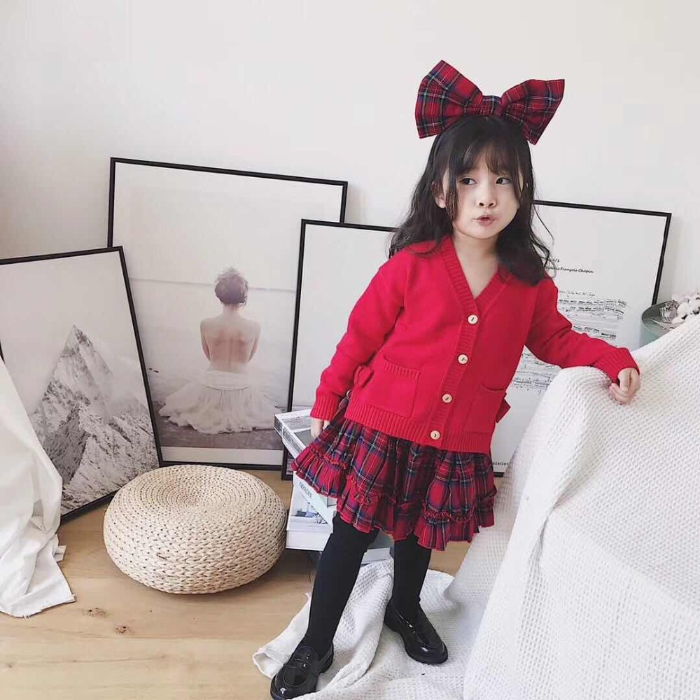 Toddler Girls Clothes 2018 Autumn&Winter Brand Fashion RedTops+Plaid Skirt Girls Clothing Sets Teenage Solid Sweatshirt 4-12Y dabuwawa 2017 vintage plaid vest skirt natural waisted elegant pencil button skirt autumn winter jumper skirt d17ddx018
