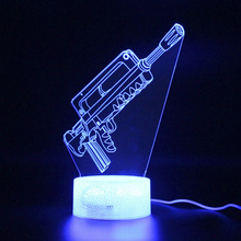 Led Light Party Decoration Battle Royale Lamp FAMAS Remote Control Touch 3d Table Lamp Night Light Projection  Lamp цена и фото