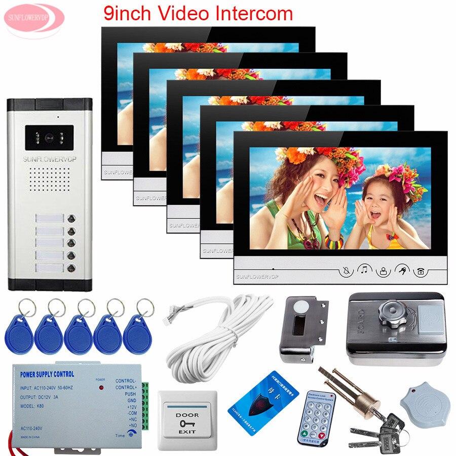 5 Apartments Wired Video Door Entry Video Doorman House Cable 9inch Color Video Door Phone Doorbell Rfid Unlock Electronic Lock