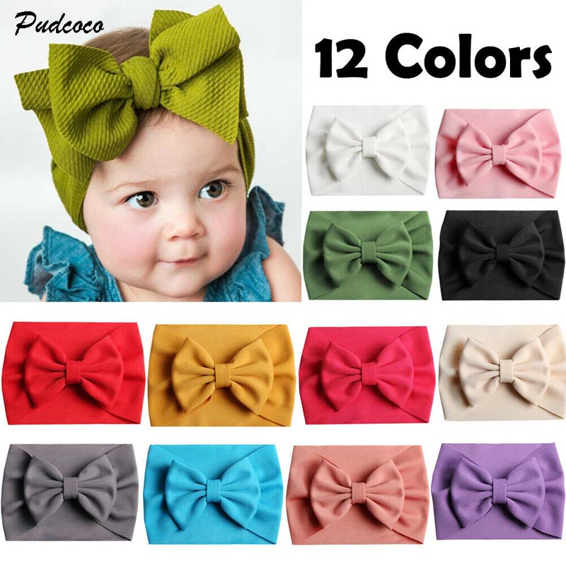 Baby Girls Bowknot Headband Hair Band Cotton Turban Head Wrap Accessories New