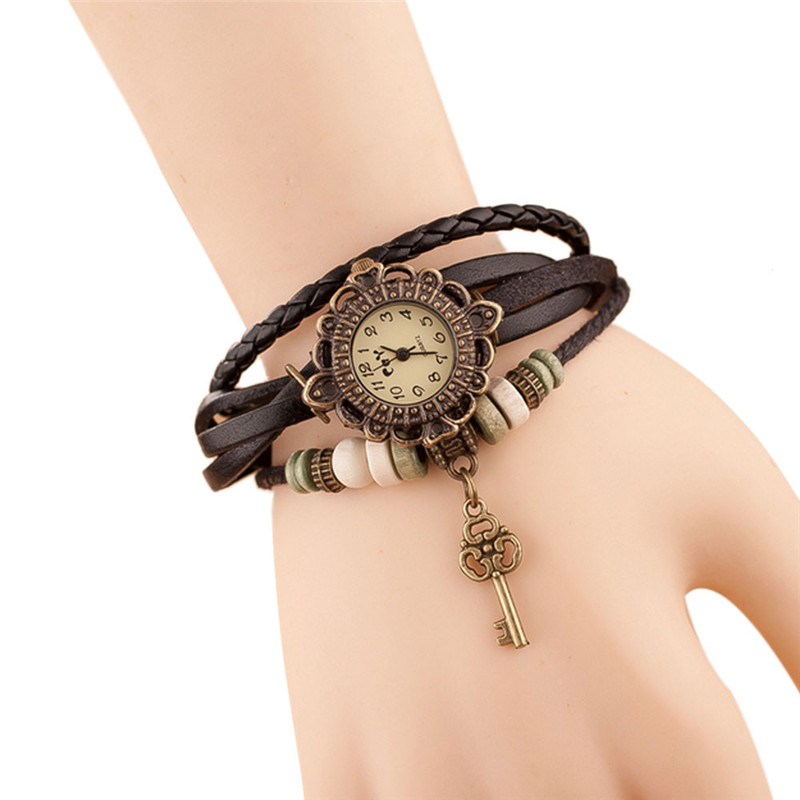 Fashion Leather Bracelet Watch Women Casual Dress Vintage Leaf Beads Wristwatch Luxury Quartz women Watch relogio feminino #C