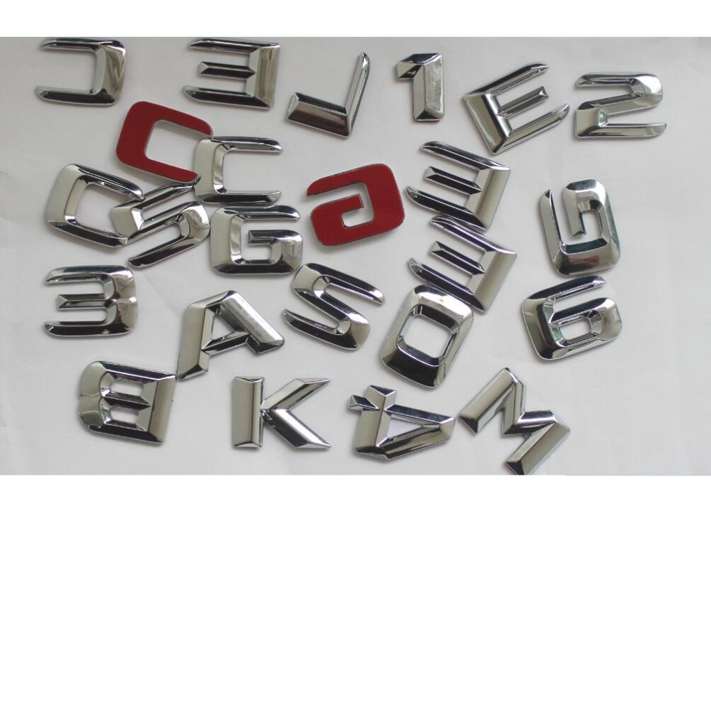 Chrome Shiny Silver ABS Car Trunk Rear Number Letters Words Badge Emblem Decal Sticker for Mercedes Benz CL65 AMG in Emblems from Automobiles Motorcycles