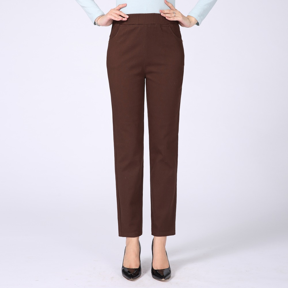 Women Casual Pants Plain Color Basic Trousers Spring Autumn Pantalones Mujer High Elastic Band Waist Pant Red White Gray Black in Pants amp Capris from Women 39 s Clothing