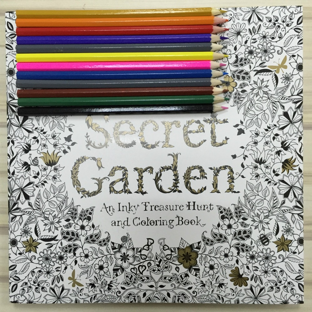 Secret garden colouring in book nz - New 12 Color Pencils 96 Pages English Secret Garden Coloring Books For Adult Hand