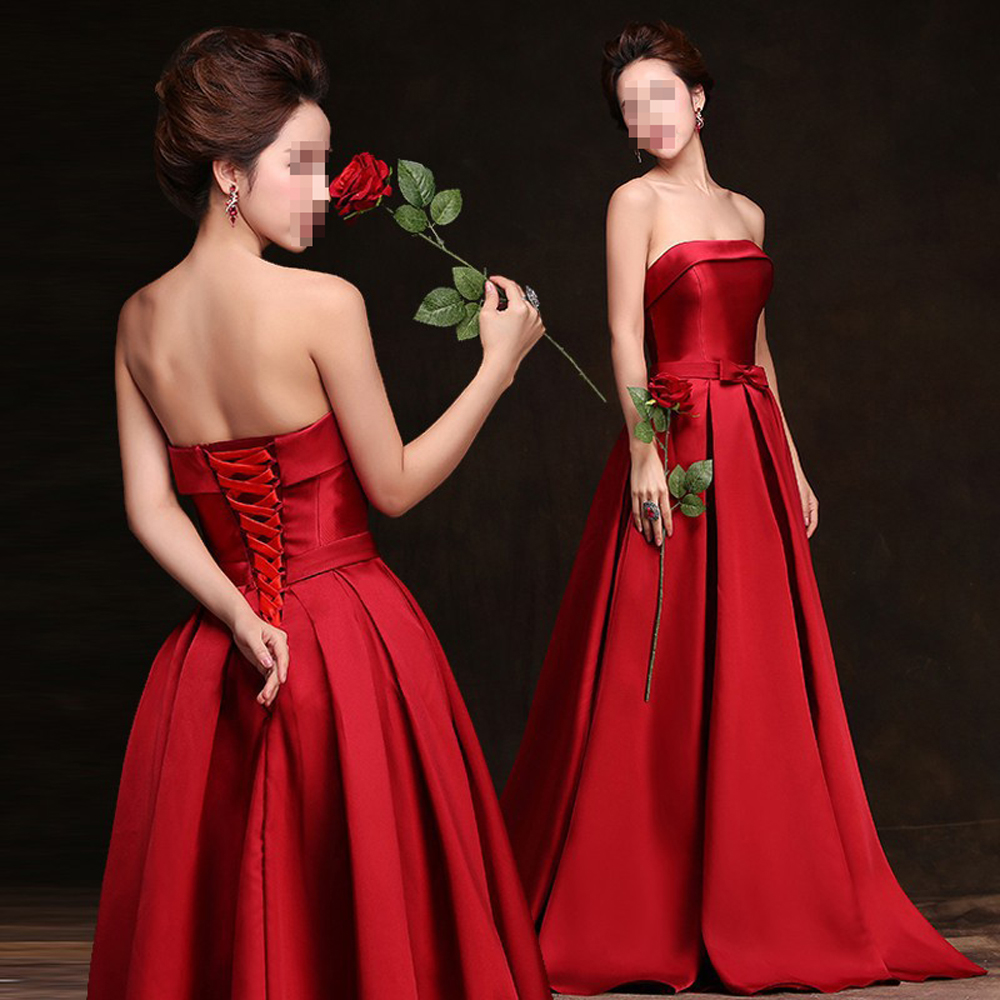 Vestido Fashion Formatura Bridal Strapless Sleeveless Wine Red Danni Slim Long Prom Dress Custom Party Formal Evening Gown