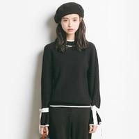 2017 Autumn New Sweater Korean Elasticity Was Thin Round Collar Slim Shirt Female A908