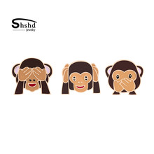 3 Styles Creative Cartoon Monkey Enamel Pins Cover Eye Mouth Eye Brooch for Women Jackets Lapel Pin Kids Bag Badge Jewelry Gift(China)