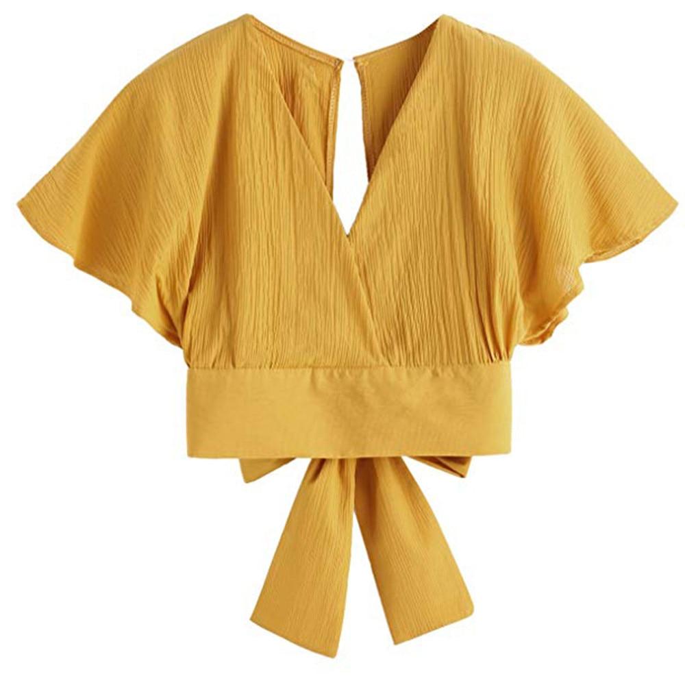Women Ladies Bow Short Sleeve Shirt Blackless V Neck Short Tops Polyester Solid Women's Harajuku Crop top #7925 9 Online shopping Bangladesh