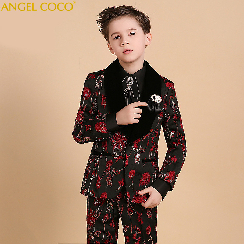 Boys Suits For Weddings Kids Tuxedos Stamping Printing Outfits Clothing Formal Boys Prom Blazer Suit Vest Coat Terno Menino boys wedding suit kids tuxedos page boy outfits 3 pieces autumn clothing sets boys blazer suit corduroy occasion suits