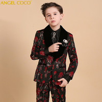 Boys Suits For Weddings Kids Tuxedos Stamping Printing Outfits Clothing Formal Boys Prom Blazer Suit Vest Coat Terno Menino