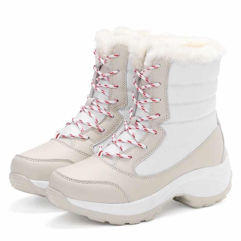 Vrouwen Laarzen Warm Bont Winter Laarzen Mode Vrouwen Schoenen Lace Up Platform Enkellaars Waterdichte Snowboots Non-slip dames Schoenen