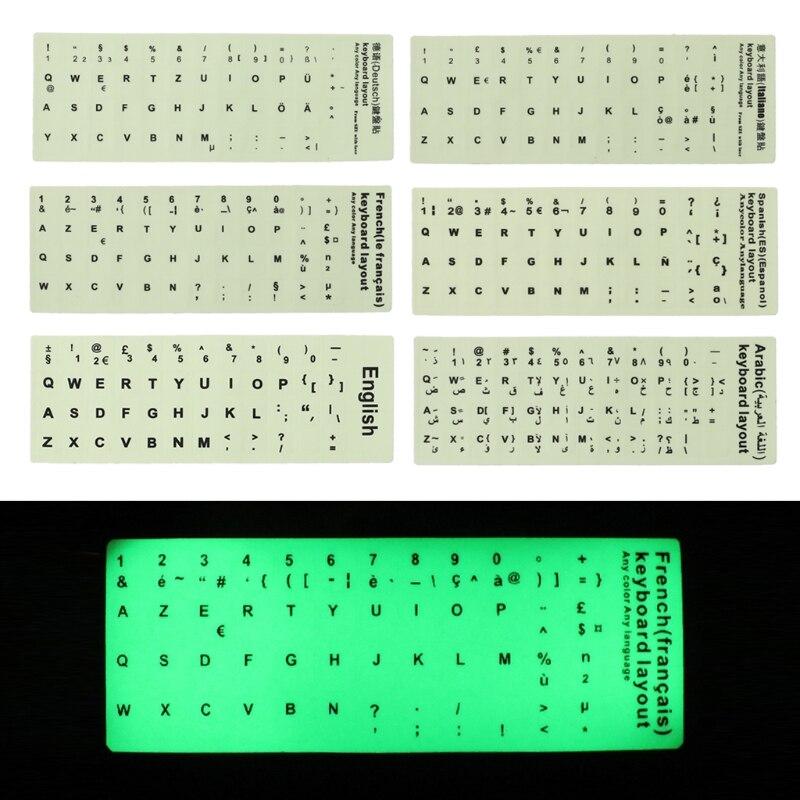 1PC Waterproof Fluorescent Keyboard Stickers Luminous Keyboard Protective Film